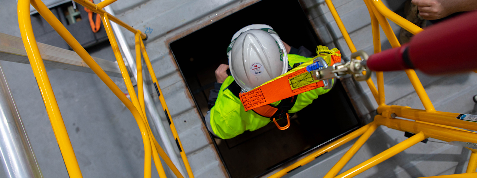 Confined space entry during combined refresher training.