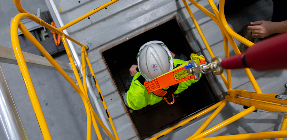 Safely entering a confined space is a critical work safety skill.