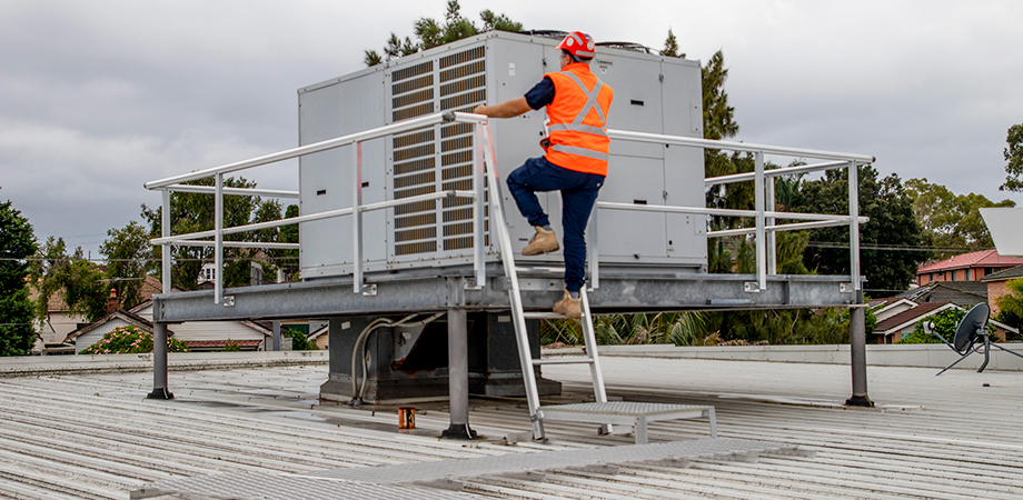 Air-conditioning plant maintenance access platform.