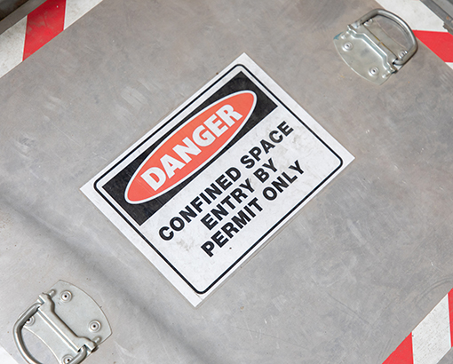 Confined space warning sign.