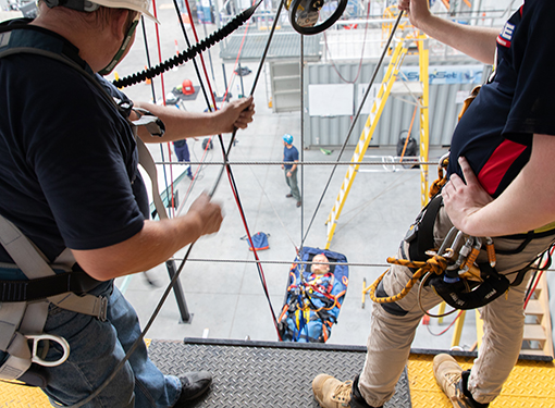 Recovering a worker from height following a workplace accident.