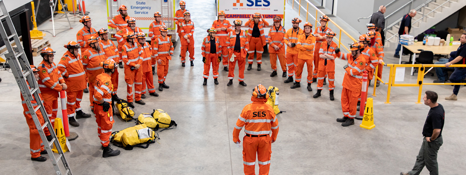 SES personnel receive a briefing before starting training.